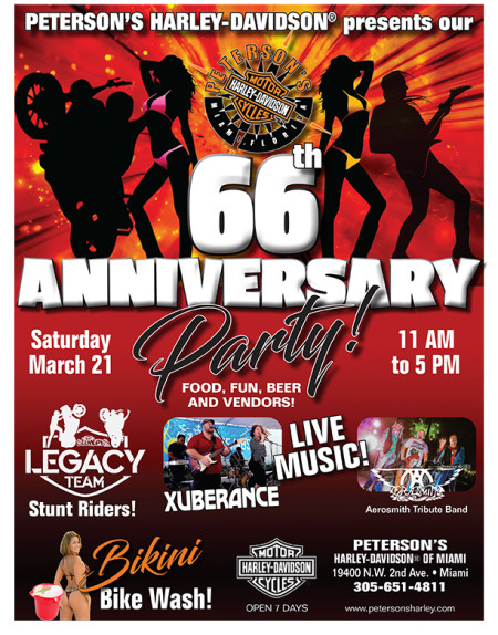 peterson's Harley-Davidson Of Miami 66th Anniversary Party Saturday March 21st