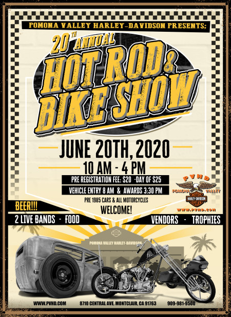 20th ANNUAL HOT ROD AND BIKE SHOW  6/20/2020!!!
