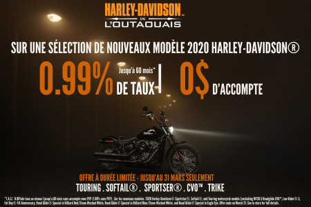 Special Promotion on New 2020 H-D® Sportster®, Softail®, Touring Models