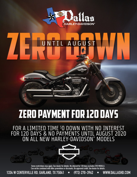 ZERO DOWN AND ZERO PAYMENT FOR 120 DAYS
