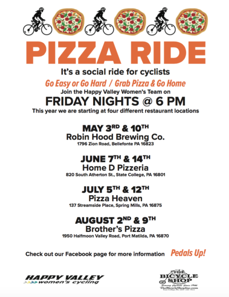 Join the Happy Valley Women's Team for Pizza Rides: a social ride for cyclists