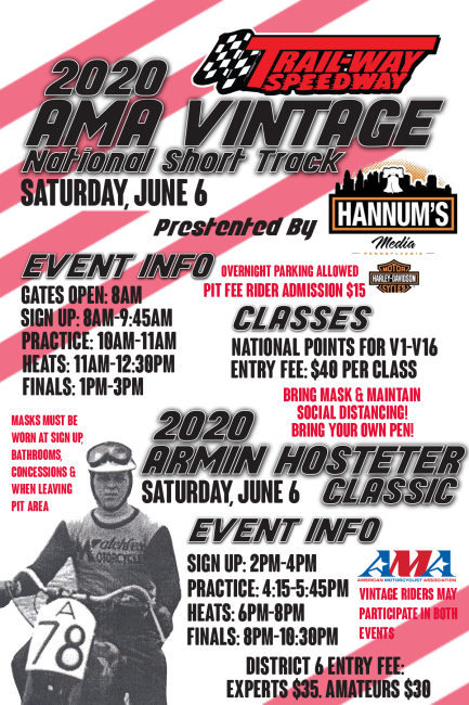 2020 AMA Vintage National Short Track & Armin Hostetter Classic
