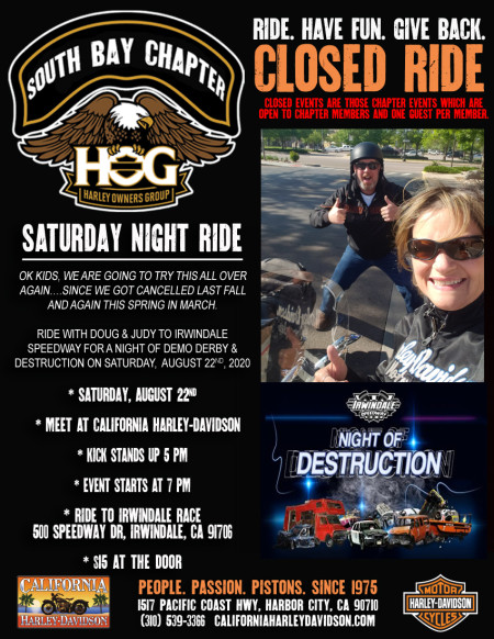 South Bay HOG - Saturday night ride with the Setmeyers 8/22/2020