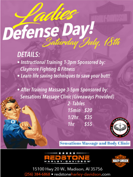 Ladies Defense Day!  Saturday, July 18th 1-5pm