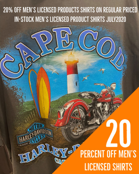 20% off Men's Licensed Product Shirts at Cape Cod Harley-Davidson