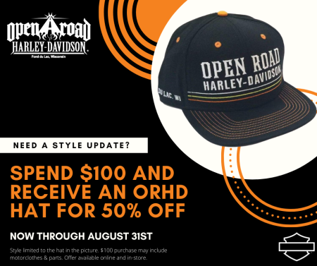 Spend $100 and Receive 50% of an ORHD Hat