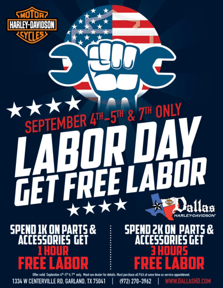 FREE LABOR ON LABOR DAY AT DALLAS HARLEY-DAVIDSON® IN GARLAND TX!