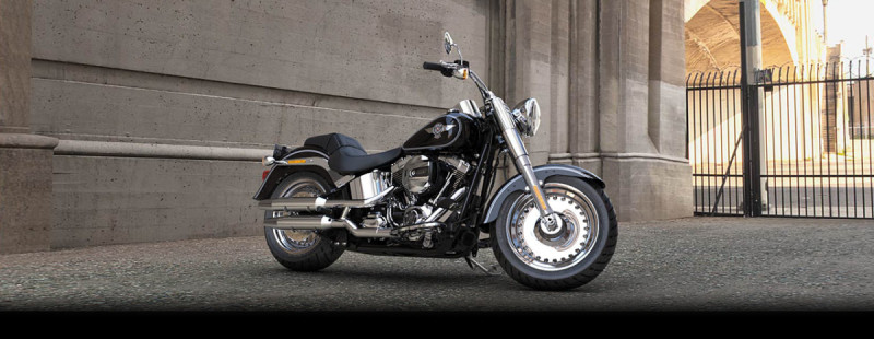 Black 2016 Harley-Davidson® Fat Boy® FLSTF