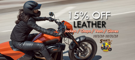 15% Off Leather Jackets, Leather Chaps, Leather Vests, and Leather Gloves.