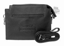 Womens Vixen B&S Logo Black Leather Hip Bag (hdwba11605-blk)