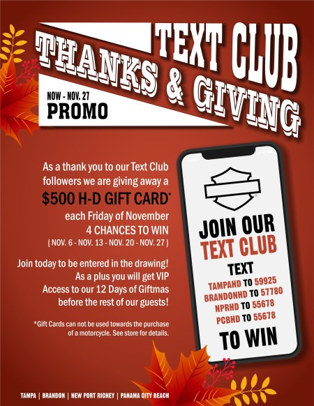 Thanks & Giving Text Club Promo