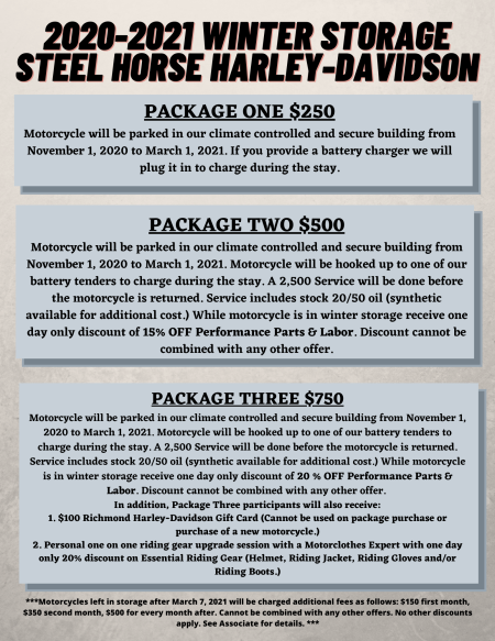 2019-2020 Winter Storage Package