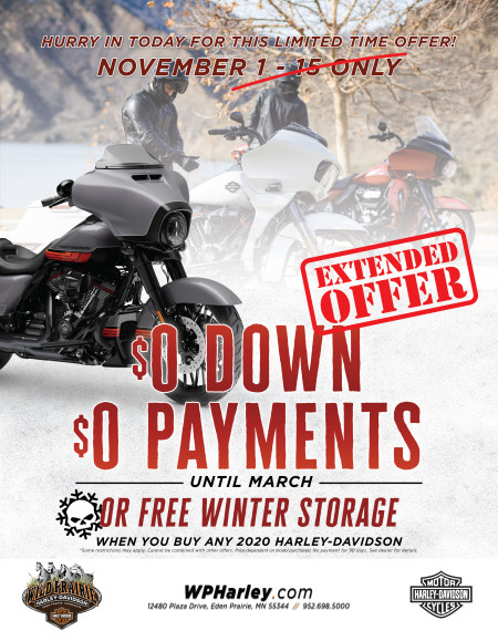 Zero Down and No payments until next year, or FREE Winter Storage!