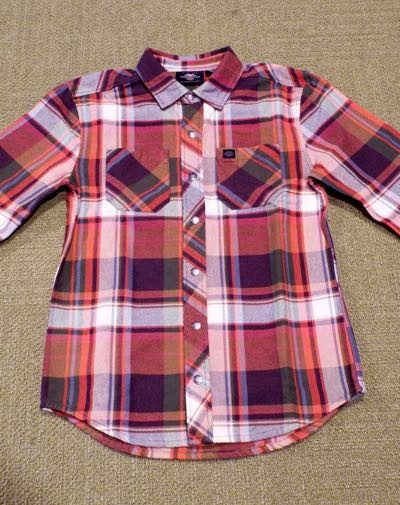 SHIRT-WOVEN,ORANGE PLAID,SLI