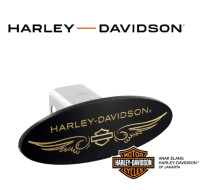 Hitch Cover - Matte Black - brass open b&s H-D wordmark