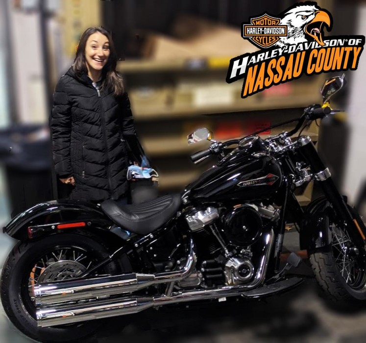 Jessica taking home her new Softail Slim