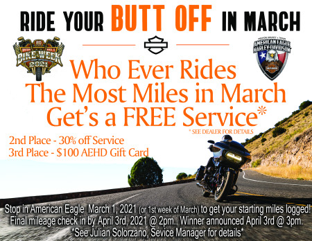 Ride your BUTT off in March!!