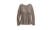 Open Knit Metallic Sweater, Woodsmoke