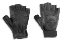Women's Bar & Shield Fingerless Leather Glove