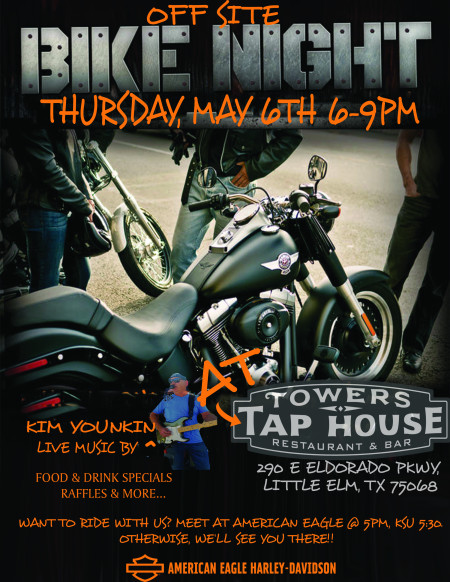 American Eagle Heads To Towers Tap House For Bike Night!!